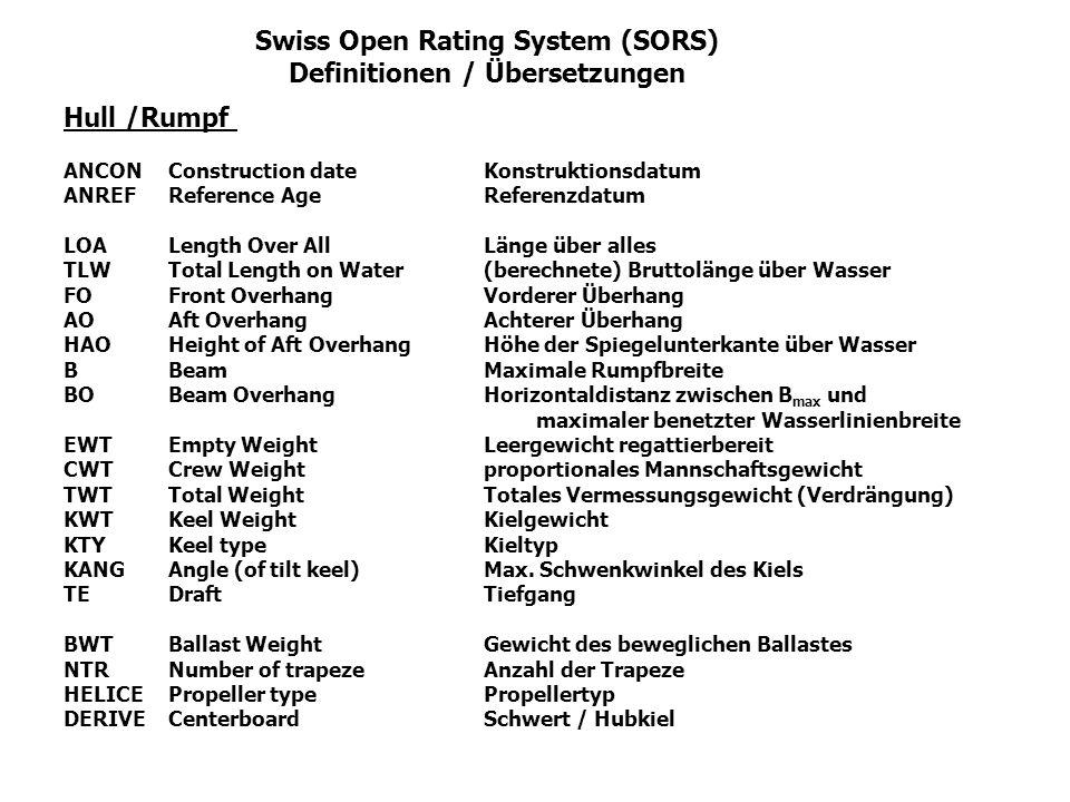 Swiss Open Rating System (SORS) Definitionen / Übersetzungen Hull /Rumpf ANCONConstruction dateKonstruktionsdatum ANREFReference AgeReferenzdatum LOA