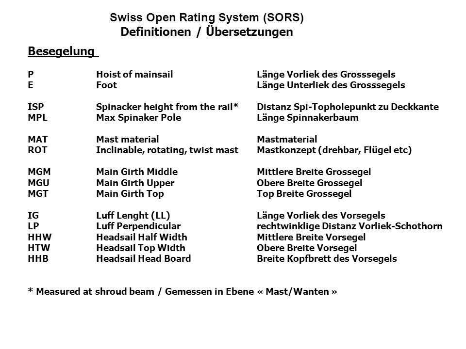 Swiss Open Rating System (SORS) Definitionen / Übersetzungen Besegelung PHoist of mainsailLänge Vorliek des Grosssegels E FootLänge Unterliek des Gros