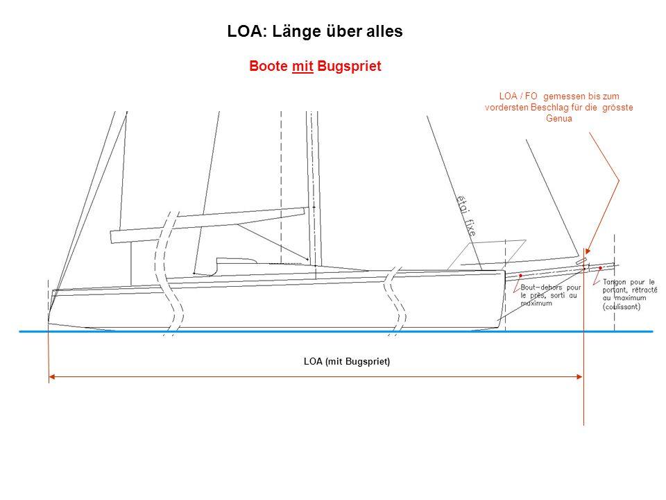 LOA (mit Bugspriet) LOA / FO gemessen bis zum vordersten Beschlag für die grösste Genua LOA: Länge über alles Boote mit Bugspriet
