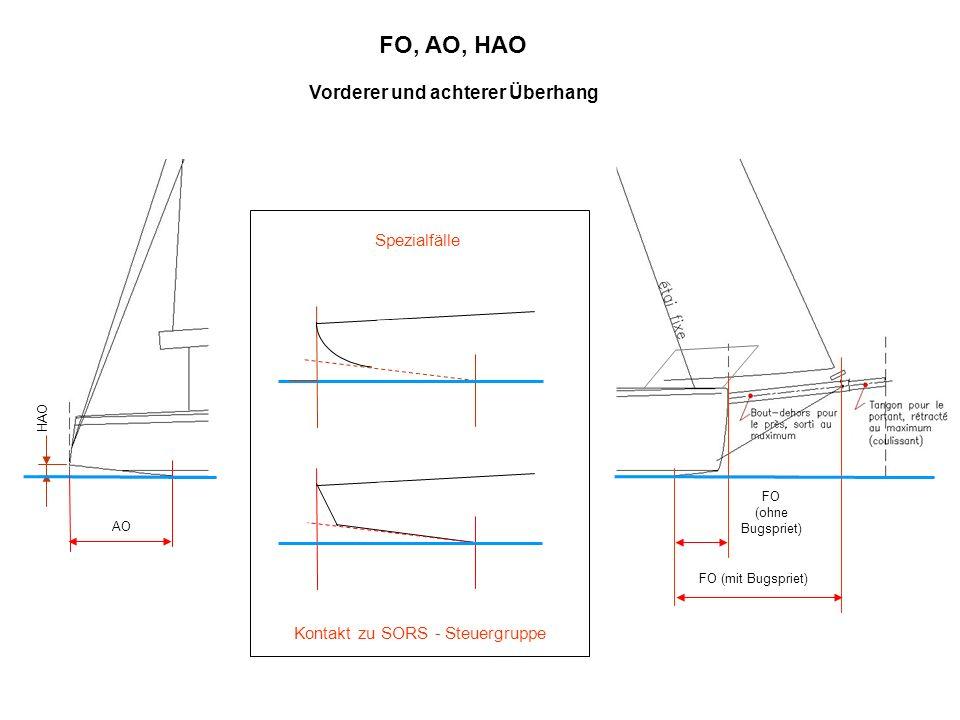 AO HAO FO (mit Bugspriet) FO, AO, HAO Vorderer und achterer Überhang FO (ohne Bugspriet) Kontakt zu SORS - Steuergruppe Spezialfälle