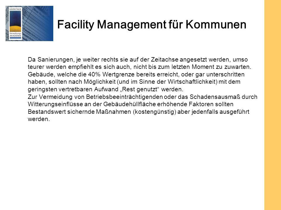 Facility Management für Kommunen Da Sanierungen, je weiter rechts sie auf der Zeitachse angesetzt werden, umso teurer werden empfiehlt es sich auch, nicht bis zum letzten Moment zu zuwarten.