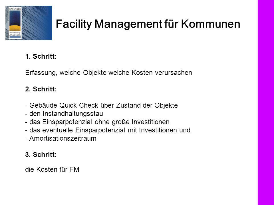 Facility Management für Kommunen 1. Schritt: Erfassung, welche Objekte welche Kosten verursachen 2. Schritt: - Gebäude Quick-Check über Zustand der Ob