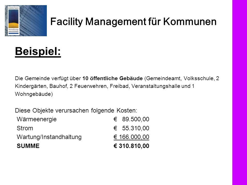 Facility Management für Kommunen Beispiel: Die Gemeinde verfügt über 10 öffentliche Gebäude (Gemeindeamt, Volksschule, 2 Kindergärten, Bauhof, 2 Feuer