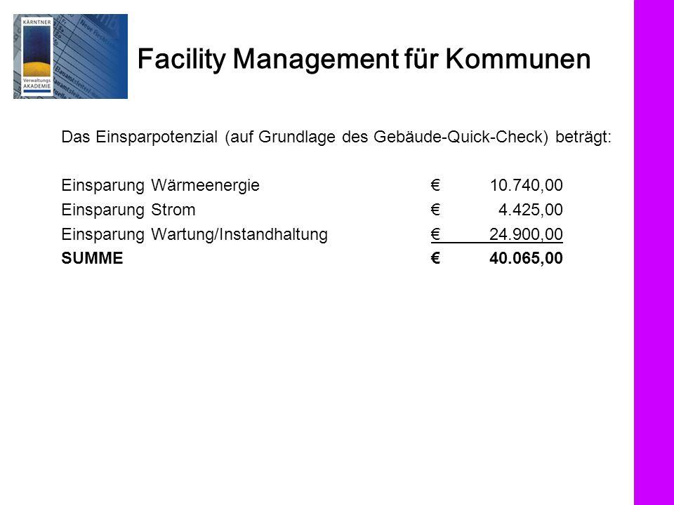 Facility Management für Kommunen Das Einsparpotenzial (auf Grundlage des Gebäude-Quick-Check) beträgt: Einsparung Wärmeenergie 10.740,00 Einsparung St