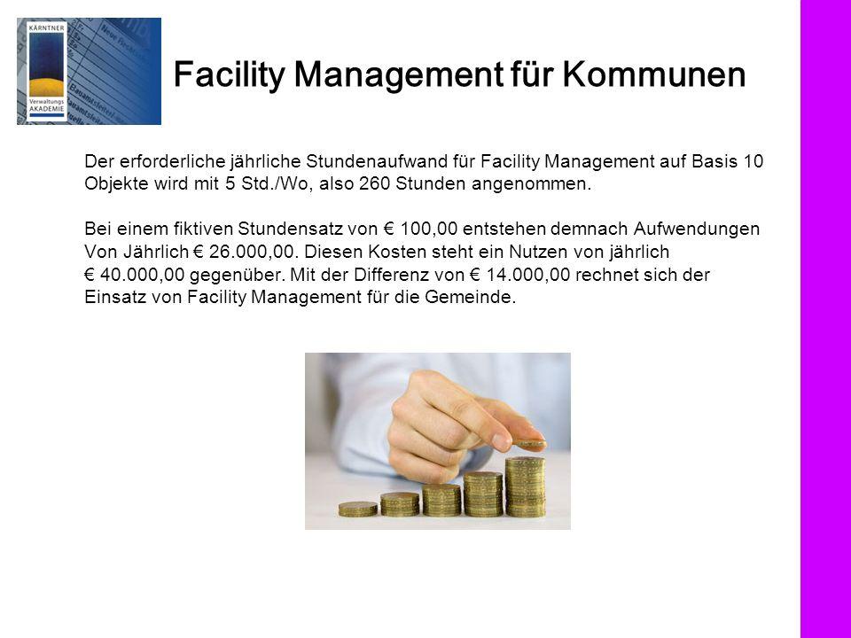 Facility Management für Kommunen Der erforderliche jährliche Stundenaufwand für Facility Management auf Basis 10 Objekte wird mit 5 Std./Wo, also 260