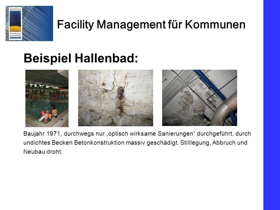 Facility Management für Kommunen Beispiel Hallenbad: Baujahr 1971, durchwegs nur optisch wirksame Sanierungen durchgeführt, durch undichtes Becken Betonkonstruktion massiv geschädigt.