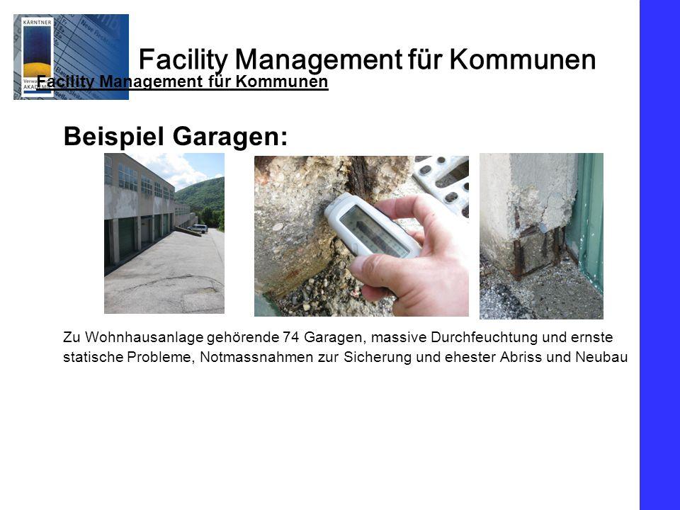 Facility Management für Kommunen Beispiel Garagen: Zu Wohnhausanlage gehörende 74 Garagen, massive Durchfeuchtung und ernste statische Probleme, Notmassnahmen zur Sicherung und ehester Abriss und Neubau Facility Management für Kommunen