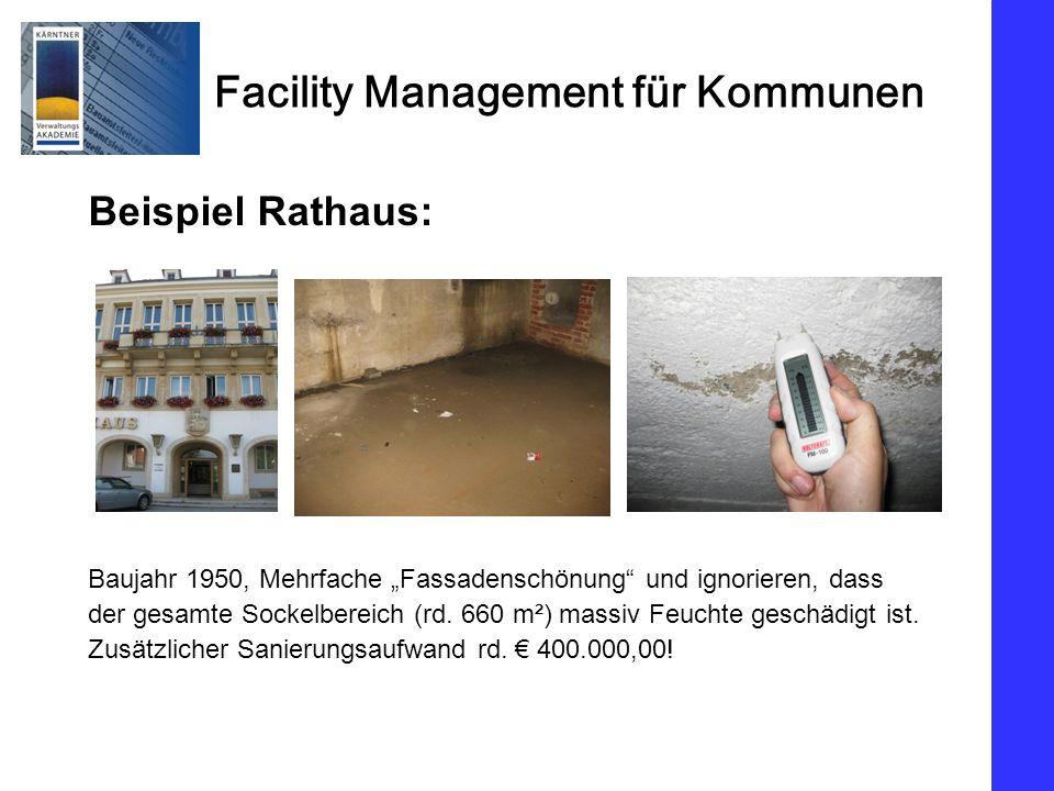 Facility Management für Kommunen Beispiel Rathaus: Baujahr 1950, Mehrfache Fassadenschönung und ignorieren, dass der gesamte Sockelbereich (rd. 660 m²