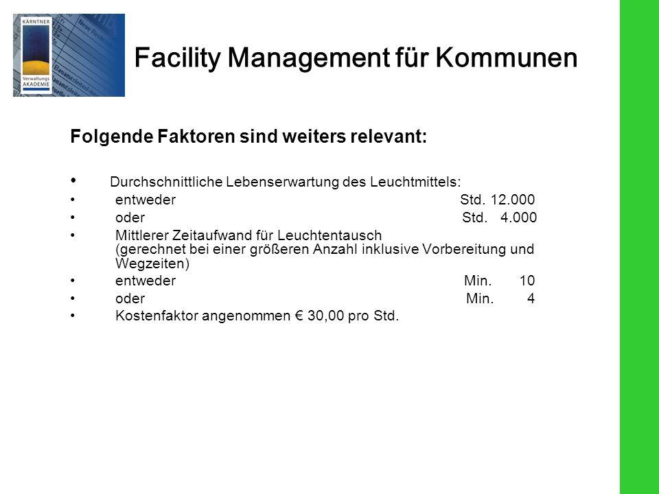 Facility Management für Kommunen Folgende Faktoren sind weiters relevant: Durchschnittliche Lebenserwartung des Leuchtmittels: entweder Std. 12.000 od