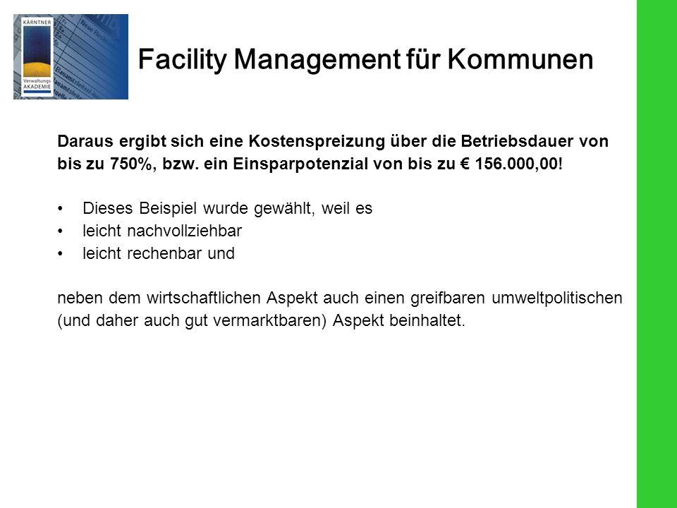 Facility Management für Kommunen Daraus ergibt sich eine Kostenspreizung über die Betriebsdauer von bis zu 750%, bzw. ein Einsparpotenzial von bis zu