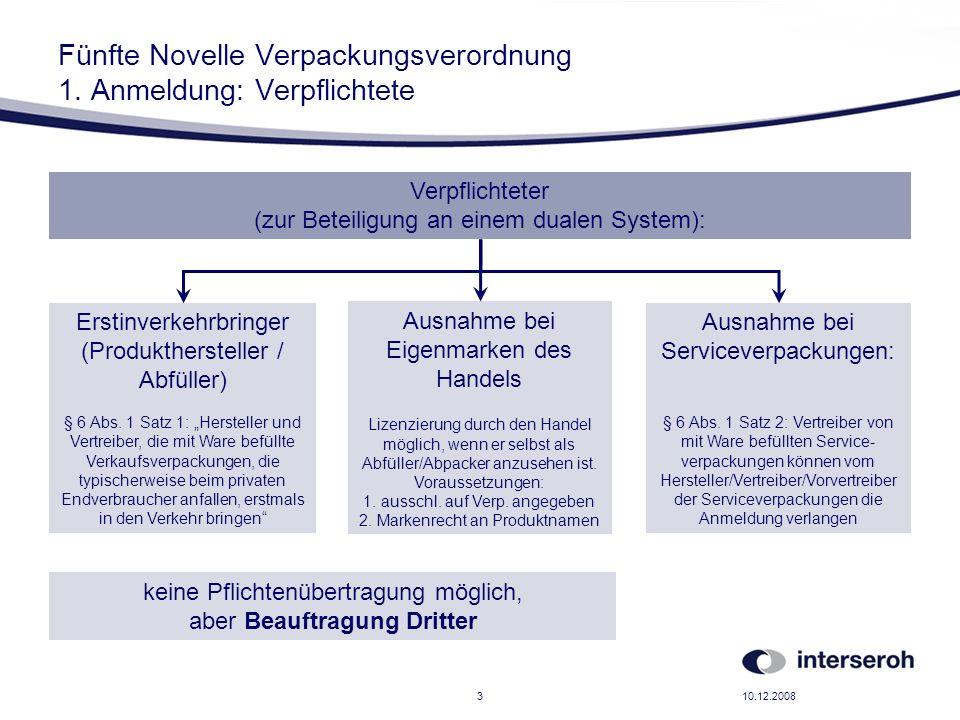 10.12.20083 Fünfte Novelle Verpackungsverordnung 1. Anmeldung: Verpflichtete Verpflichteter (zur Beteiligung an einem dualen System): Erstinverkehrbri