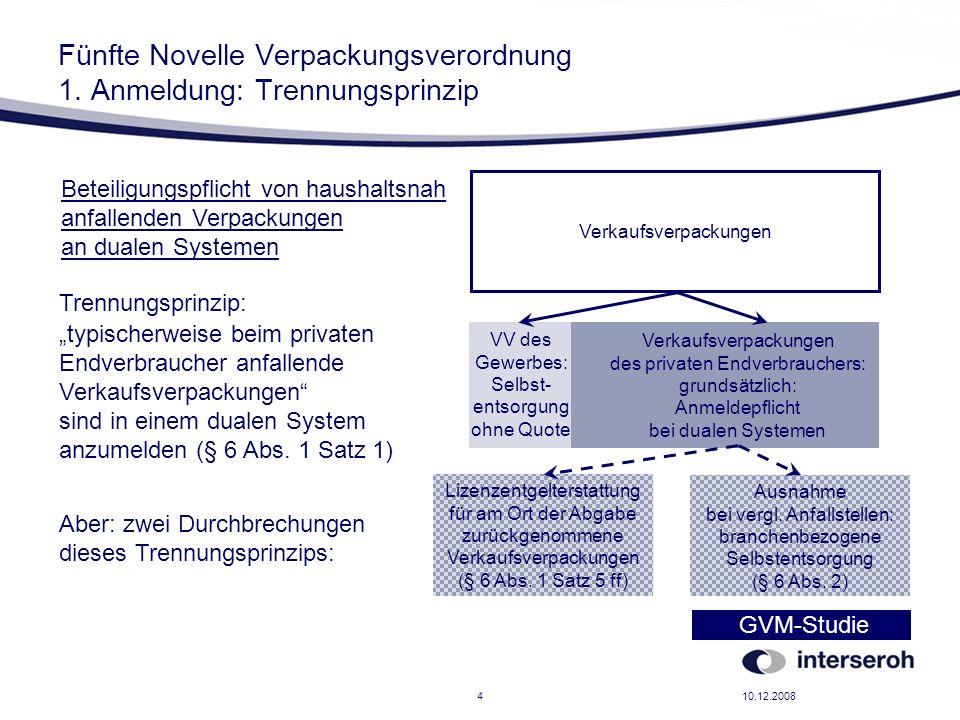10.12.20084 Fünfte Novelle Verpackungsverordnung 1. Anmeldung: Trennungsprinzip VV des Gewerbes: Selbst- entsorgung ohne Quote Verkaufsverpackungen de