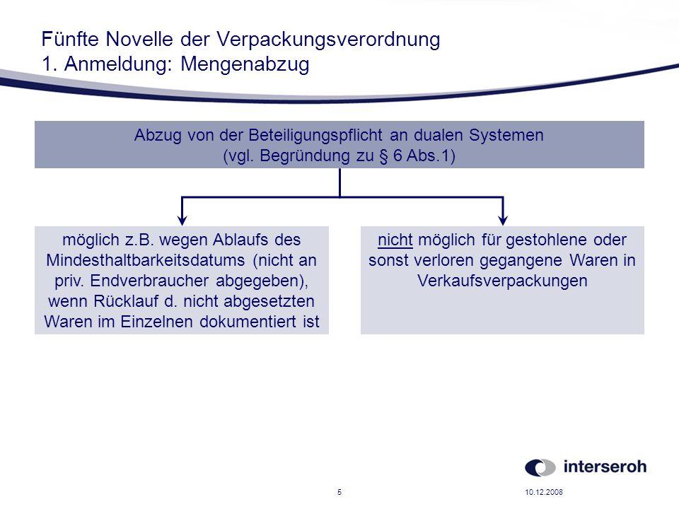 10.12.20085 Fünfte Novelle der Verpackungsverordnung 1. Anmeldung: Mengenabzug möglich z.B. wegen Ablaufs des Mindesthaltbarkeitsdatums (nicht an priv