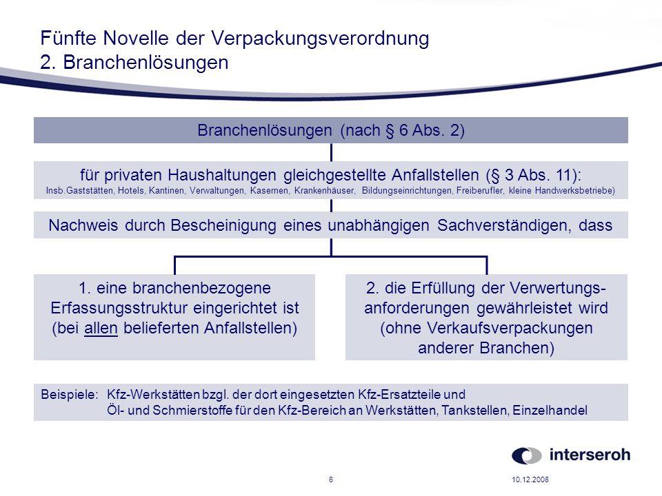 10.12.20086 Fünfte Novelle der Verpackungsverordnung 2. Branchenlösungen Branchenlösungen (nach § 6 Abs. 2) für privaten Haushaltungen gleichgestellte
