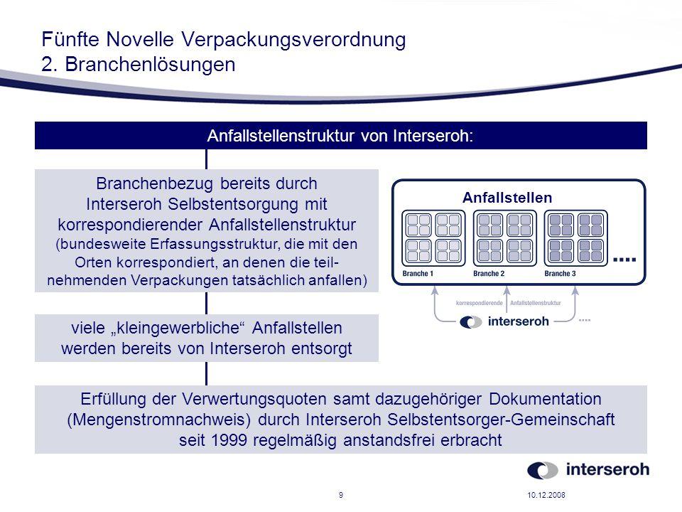 10.12.20089 Fünfte Novelle Verpackungsverordnung 2. Branchenlösungen Anfallstellenstruktur von Interseroh: Branchenbezug bereits durch Interseroh Selb