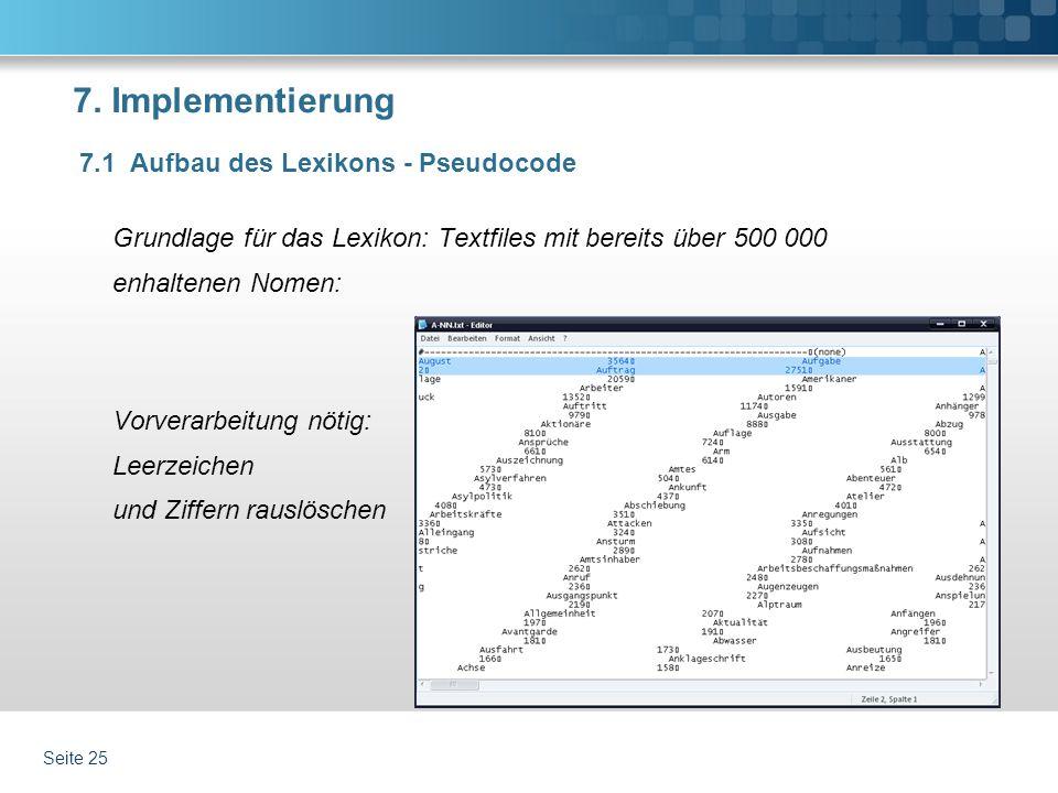 7. Implementierung Grundlage für das Lexikon: Textfiles mit bereits über 500 000 enhaltenen Nomen: Vorverarbeitung nötig: Leerzeichen und Ziffern raus