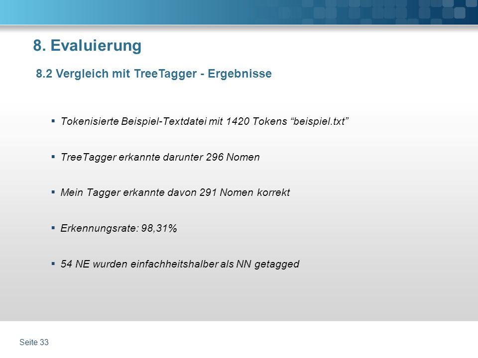 8. Evaluierung Tokenisierte Beispiel-Textdatei mit 1420 Tokens beispiel.txt TreeTagger erkannte darunter 296 Nomen Mein Tagger erkannte davon 291 Nome