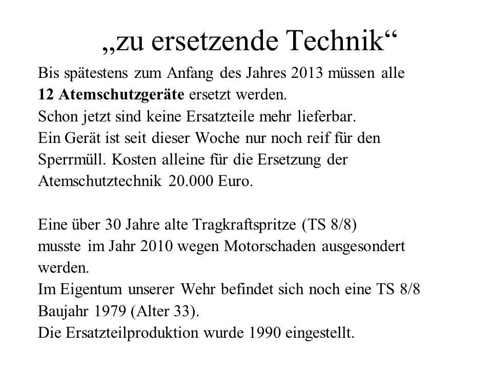 zu ersetzende Technik Bis spätestens zum Anfang des Jahres 2013 müssen alle 12 Atemschutzgeräte ersetzt werden. Schon jetzt sind keine Ersatzteile meh