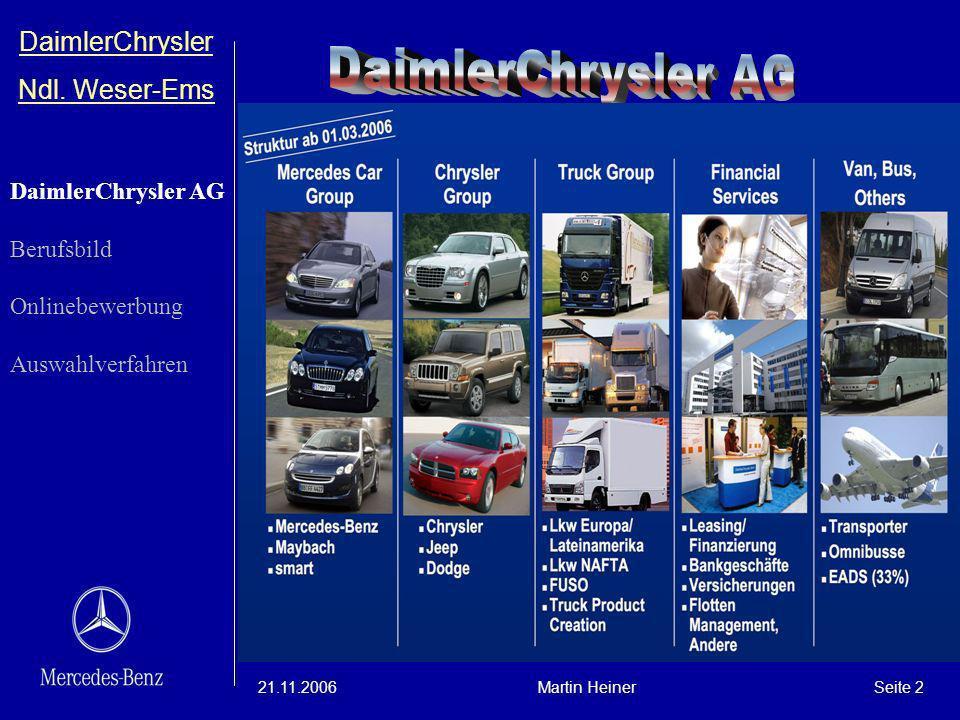 DaimlerChrysler Ndl. Weser-Ems 21.11.2006Martin HeinerSeite 2 DaimlerChrysler AG Berufsbild Onlinebewerbung Auswahlverfahren