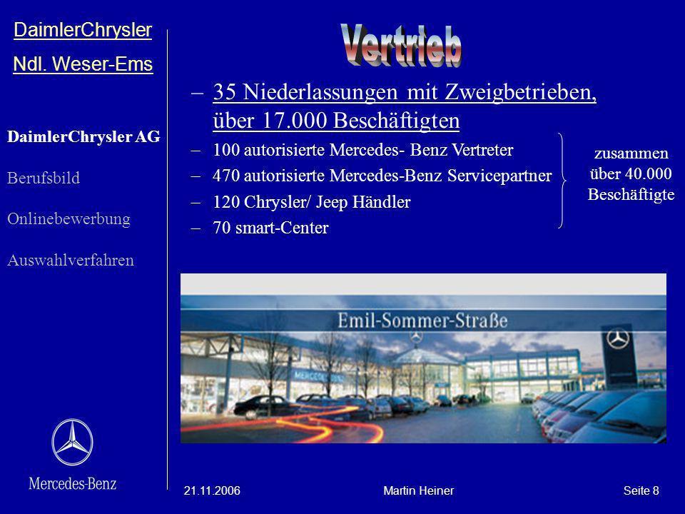 DaimlerChrysler Ndl. Weser-Ems 21.11.2006Martin HeinerSeite 8 –35 Niederlassungen mit Zweigbetrieben, über 17.000 Beschäftigten –100 autorisierte Merc