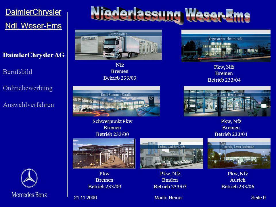 DaimlerChrysler Ndl. Weser-Ems 21.11.2006Martin HeinerSeite 9 Schwerpunkt Pkw Bremen Betrieb 233/00 Pkw, Nfz Bremen Betrieb 233/01 Nfz Bremen Betrieb