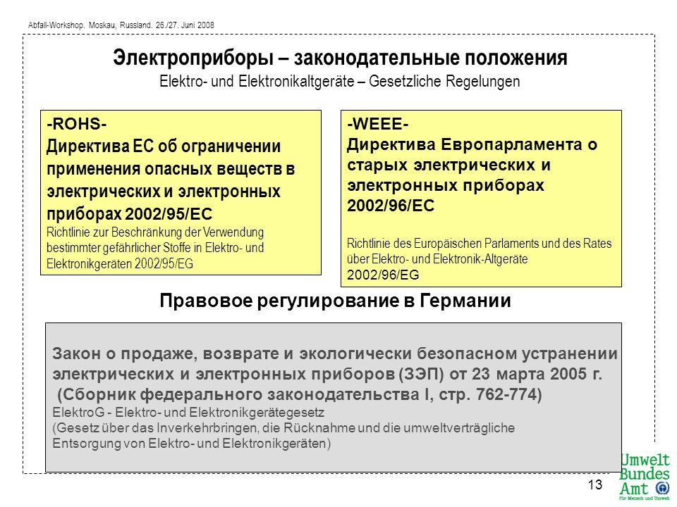 Abfall-Workshop. Moskau, Russland. 26./27. Juni 2008 13 -ROHS- Директива ЕС об ограничении применения опасных веществ в электрических и электронных пр
