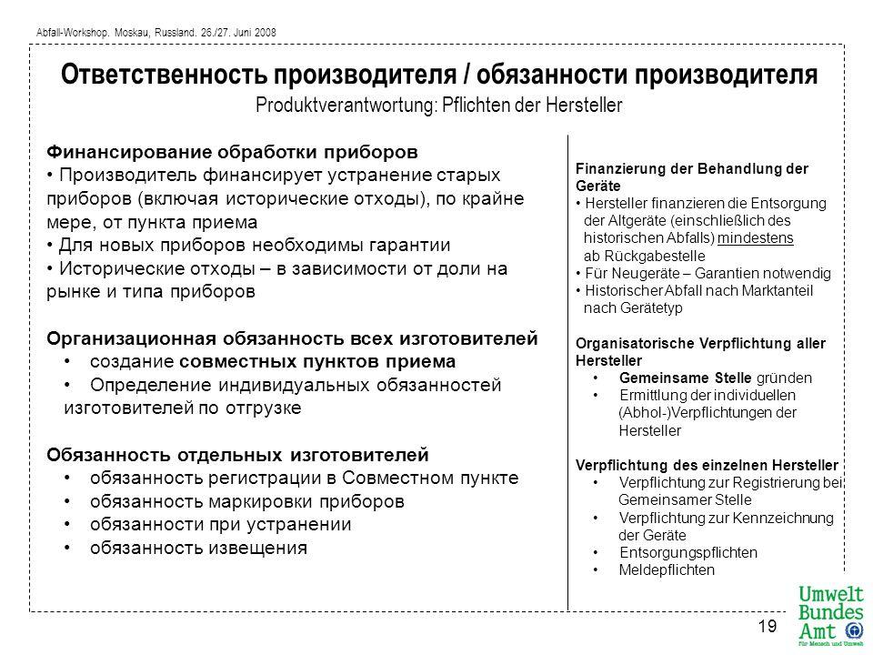 Abfall-Workshop. Moskau, Russland. 26./27. Juni 2008 19 Ответственность производителя / обязанности производителя Produktverantwortung: Pflichten der