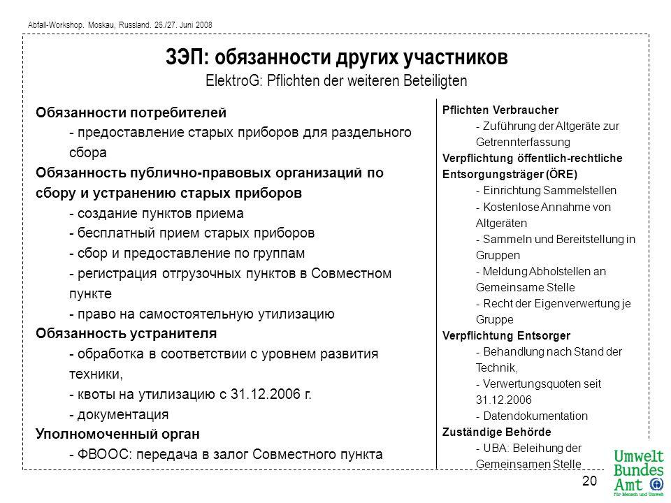 Abfall-Workshop. Moskau, Russland. 26./27. Juni 2008 20 Обязанности потребителей - предоставление старых приборов для раздельного сбора Обязанность пу