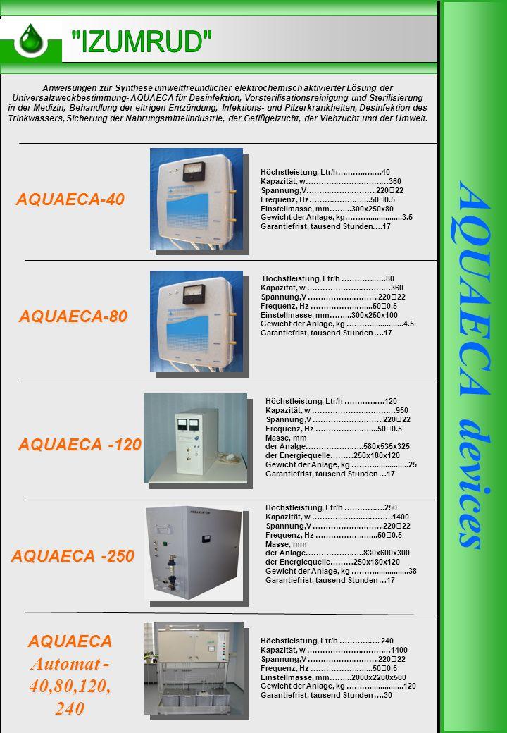 AQUAECA DEVICES AQUAECA -250 AQUAECA -120 AQUAECA-80 Höchstleistung, Ltr/h………..…….40 Kapazität, w……………………………360 Spannung,V……………………….220 22 Frequenz, Hz…………………....50 0.5 Einstellmasse, mm……...300x250x80 Gewicht der Anlage, kg………................3.5 Garantiefrist, tausend Stunden….17 Anweisungen zur Synthese umweltfreundlicher elektrochemisch aktivierter Lösung der Universalzweckbestimmung- AQUAECA für Desinfektion, Vorsterilisationsreinigung und Sterilisierung in der Medizin, Behandlung der eitrigen Entzündung, Infektions- und Pilzerkrankheiten, Desinfektion des Trinkwassers, Sicherung der Nahrungsmittelindustrie, der Geflügelzucht, der Viehzucht und der Umwelt.