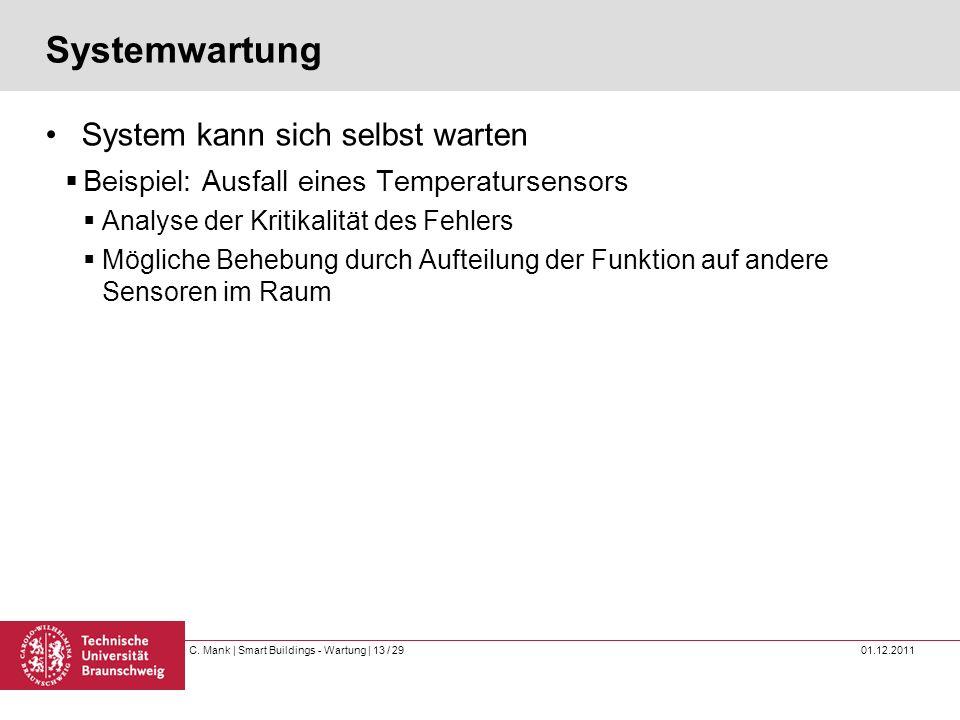 C. Mank   Smart Buildings - Wartung   13 / 29 01.12.2011 Systemwartung System kann sich selbst warten Beispiel: Ausfall eines Temperatursensors Analys