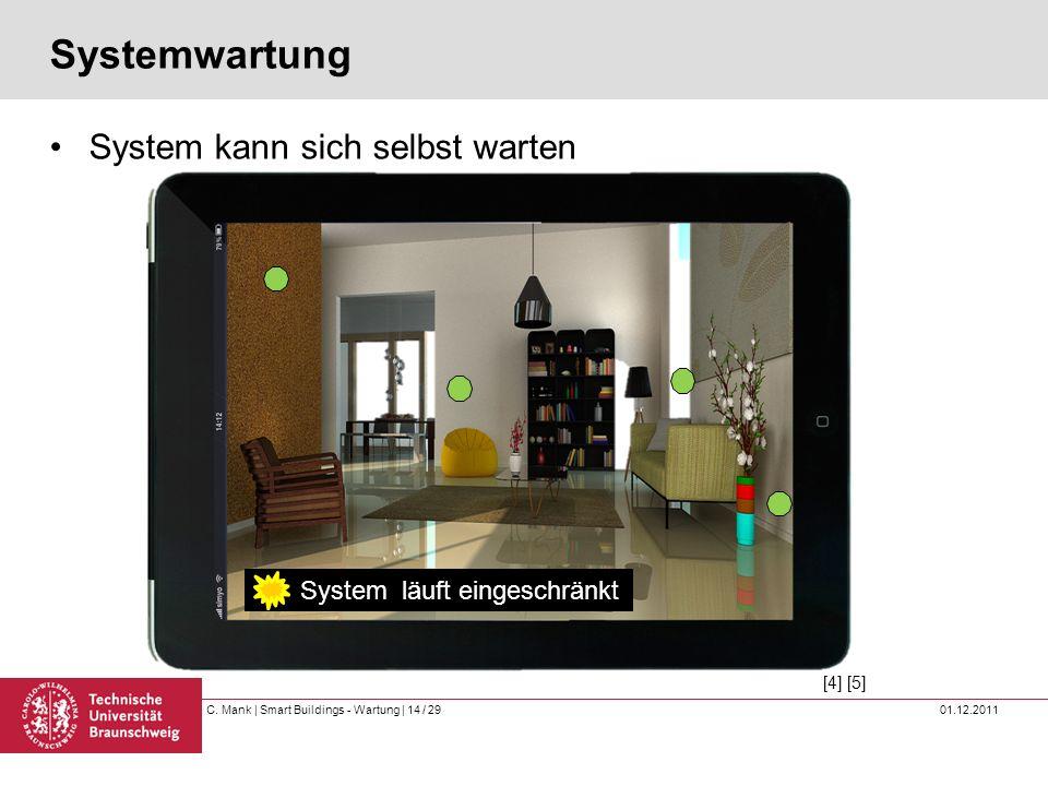 C. Mank   Smart Buildings - Wartung   14 / 29 01.12.2011 Systemwartung System kann sich selbst warten System stabil Temperatursensor 1 defekt System l