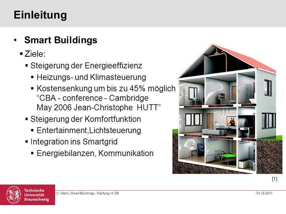 C. Mank   Smart Buildings - Wartung   4 / 29 01.12.2011 Einleitung Smart Buildings Ziele: Steigerung der Energieeffizienz Heizungs- und Klimasteuerung