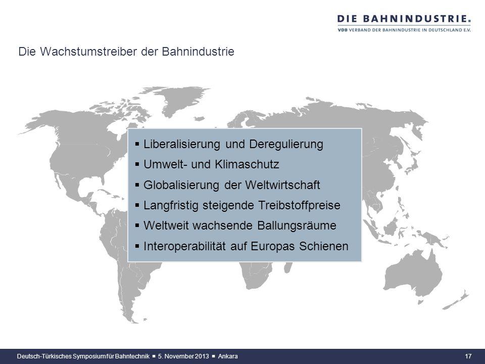 16 Die Unternehmen bauen ihr Auslandsgeschäft konsequent aus Deutsch-Türkisches Symposium für Bahntechnik 5. November 2013 Ankara