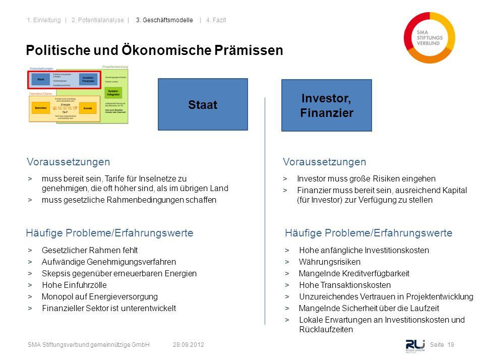 Seite 19SMA Stiftungsverbund gemeinnützige GmbH 28.09.2012 Politische und Ökonomische Prämissen Häufige Probleme/Erfahrungswerte Staat Investor, Finan