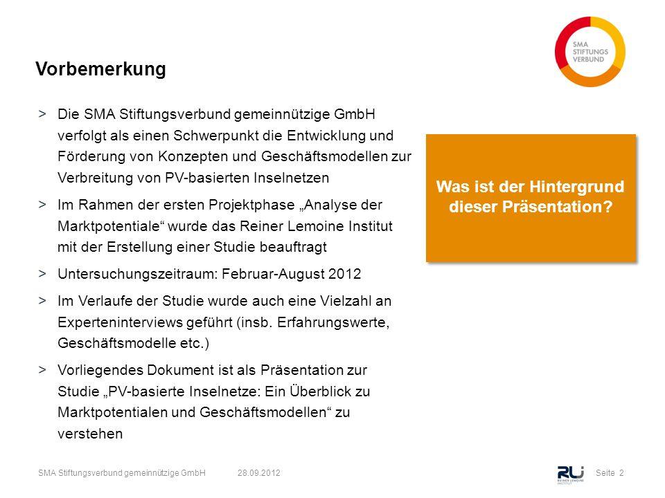 Seite 13SMA Stiftungsverbund gemeinnützige GmbH 28.09.2012 Optimaler PV Anteil in PV-Batterie-Diesel Systemen >In Gebieten mit wirtschaftlichem Einsatz von Batterien sind meist auch die Abend- und Nachtstunden mit PV abdeckbar, d.h.