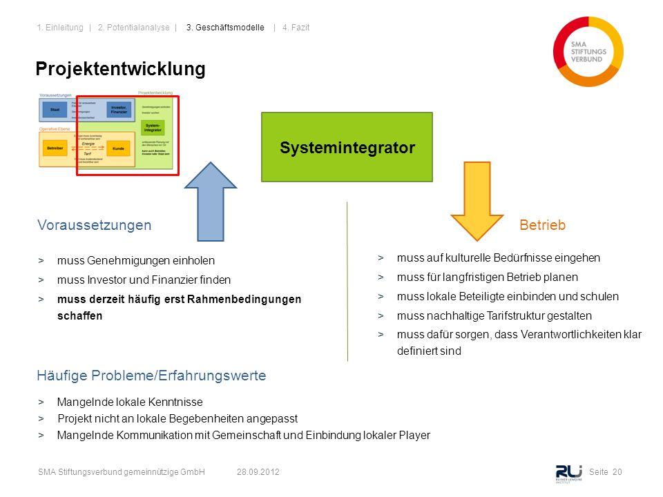 Seite 20SMA Stiftungsverbund gemeinnützige GmbH 28.09.2012 Projektentwicklung Systemintegrator VoraussetzungenBetrieb >muss Genehmigungen einholen >mu
