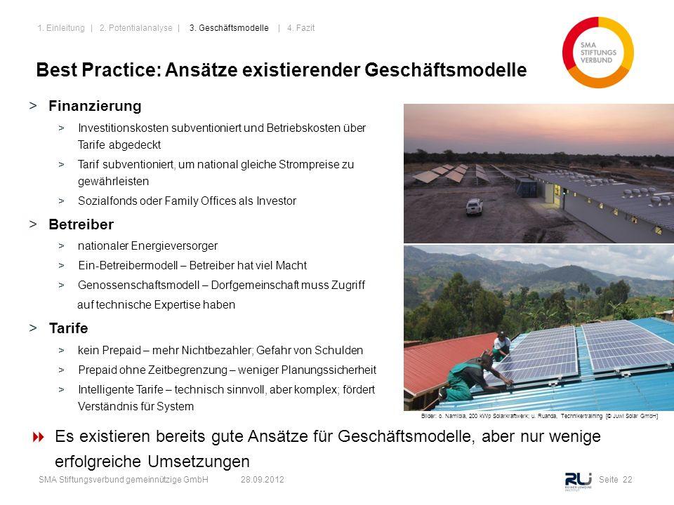 Seite 22SMA Stiftungsverbund gemeinnützige GmbH 28.09.2012 Best Practice: Ansätze existierender Geschäftsmodelle >Finanzierung >Investitionskosten sub