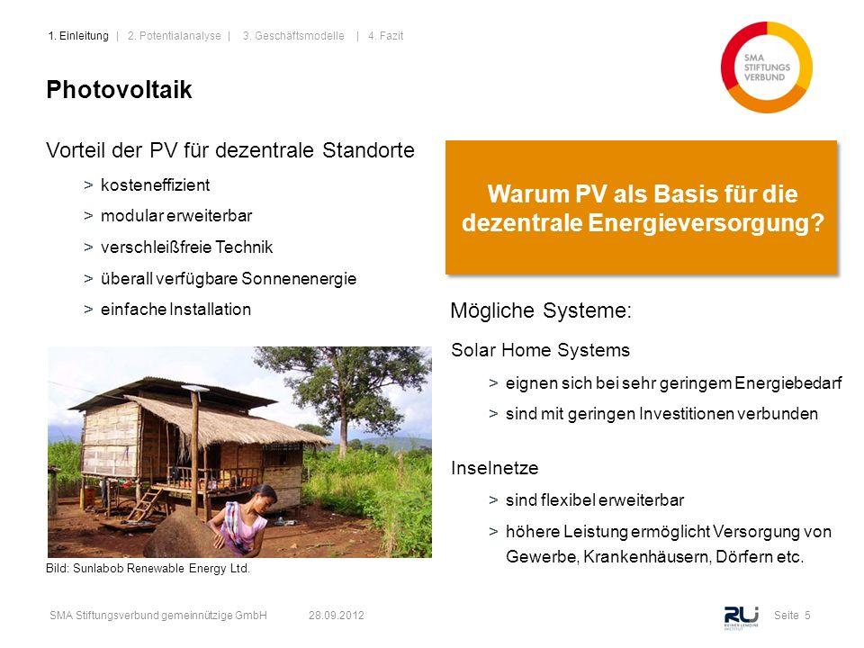 Seite 5SMA Stiftungsverbund gemeinnützige GmbH 28.09.2012 Photovoltaik Vorteil der PV für dezentrale Standorte >kosteneffizient >modular erweiterbar >