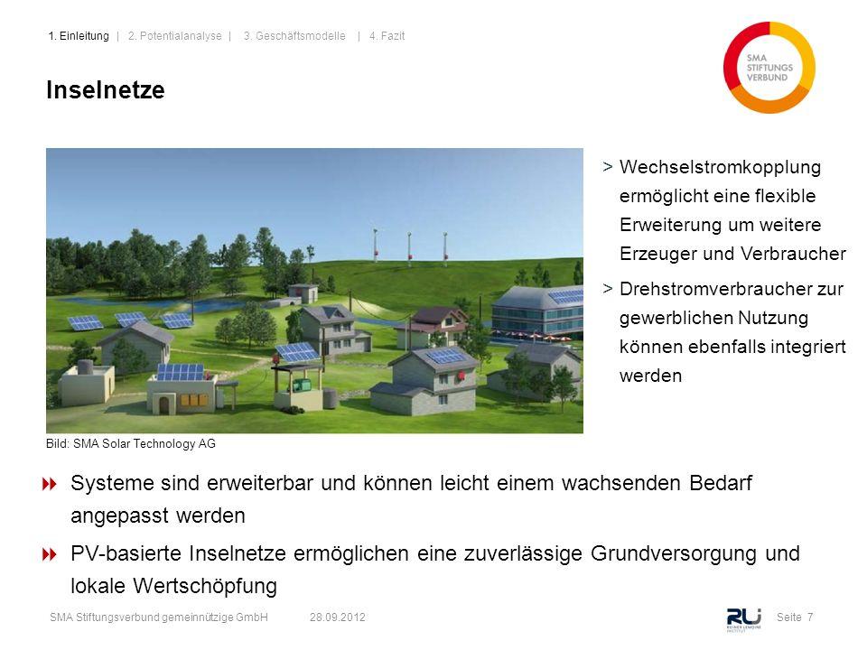 Seite 7SMA Stiftungsverbund gemeinnützige GmbH 28.09.2012 Inselnetze Bild: SMA Solar Technology AG >Wechselstromkopplung ermöglicht eine flexible Erwe
