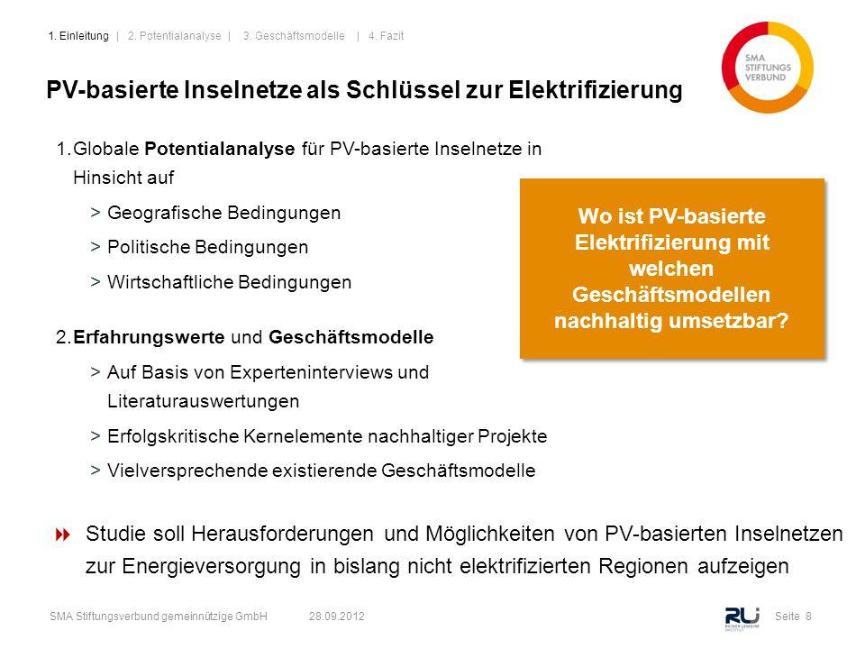 Seite 8SMA Stiftungsverbund gemeinnützige GmbH 28.09.2012 PV-basierte Inselnetze als Schlüssel zur Elektrifizierung 1.Globale Potentialanalyse für PV-
