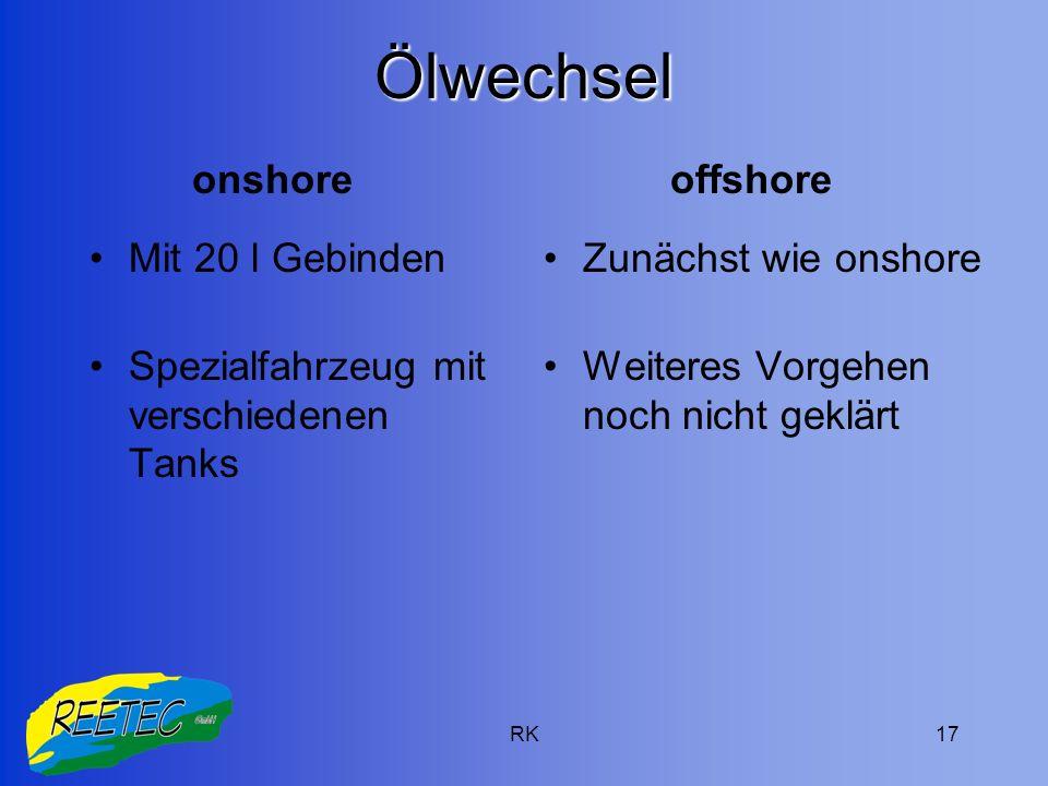 RK17 Ölwechsel Mit 20 l Gebinden Spezialfahrzeug mit verschiedenen Tanks Zunächst wie onshore Weiteres Vorgehen noch nicht geklärt onshoreoffshore