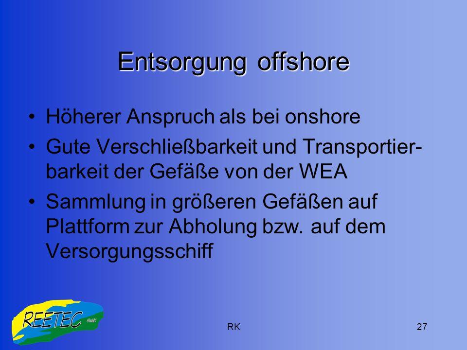 RK27 Entsorgung offshore Höherer Anspruch als bei onshore Gute Verschließbarkeit und Transportier- barkeit der Gefäße von der WEA Sammlung in größeren