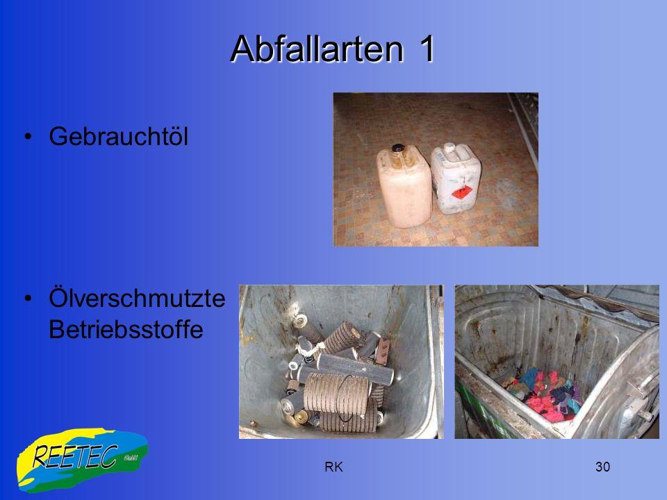 RK30 Abfallarten 1 Gebrauchtöl Ölverschmutzte Betriebsstoffe