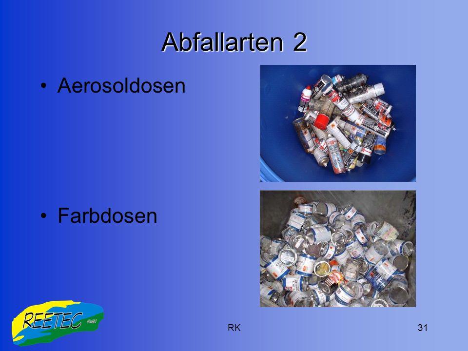 RK31 Abfallarten 2 Aerosoldosen Farbdosen