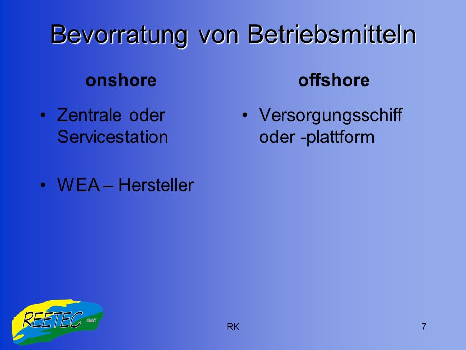 RK7 Bevorratung von Betriebsmitteln Zentrale oder Servicestation WEA – Hersteller Versorgungsschiff oder -plattform onshoreoffshore