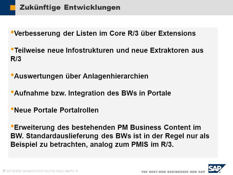 SAP AG 2002, Maintenance KPIs for the Mining Industry, Dean Fitt 16 Zukünftige Entwicklungen Verbesserung der Listen im Core R/3 über Extensions Teilw