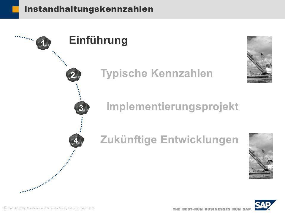 SAP AG 2002, Maintenance KPIs for the Mining Industry, Dean Fitt 2 Instandhaltungskennzahlen Einführung Typische Kennzahlen Implementierungsprojekt Zu