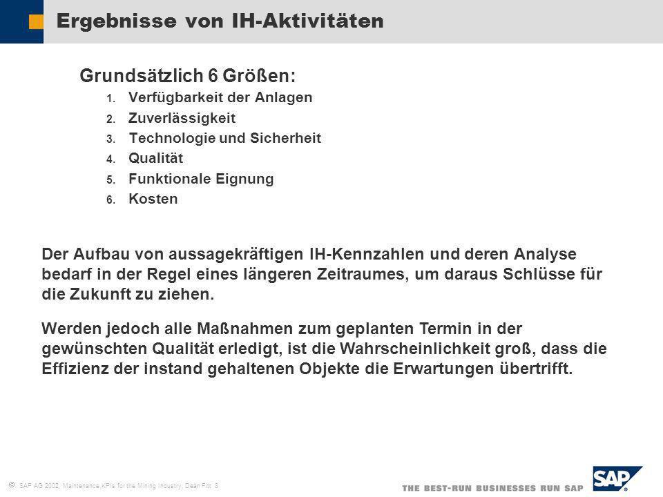 SAP AG 2002, Maintenance KPIs for the Mining Industry, Dean Fitt 8 Ergebnisse von IH-Aktivitäten Grundsätzlich 6 Größen: 1. Verfügbarkeit der Anlagen