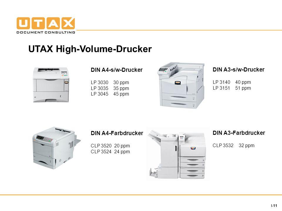 11 I-11 DIN A4-s/w-Drucker LP 3030 30 ppm LP 3035 35 ppm LP 3045 45 ppm DIN A3-s/w-Drucker LP 3140 40 ppm LP 3151 51 ppm DIN A4-Farbdrucker CLP 3520 20 ppm CLP 3524 24 ppm DIN A3-Farbdrucker CLP 3532 32 ppm UTAX High-Volume-Drucker