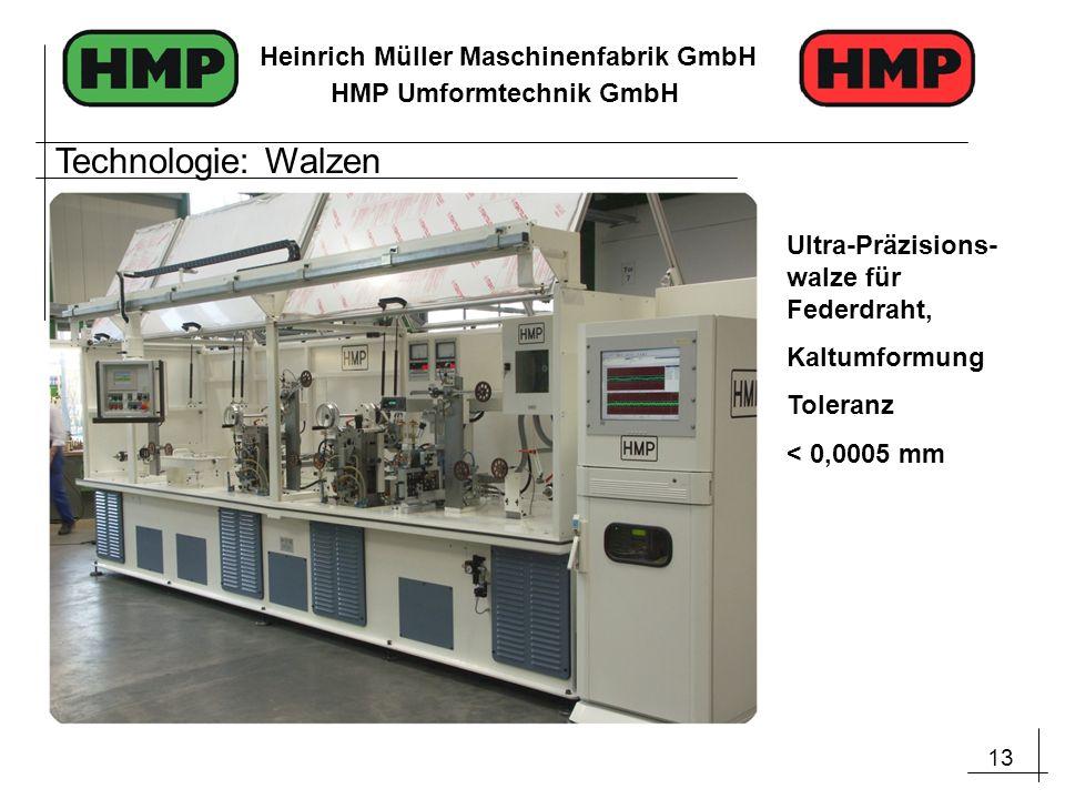 13 Heinrich Müller Maschinenfabrik GmbH HMP Umformtechnik GmbH Ultra-Präzisions- walze für Federdraht, Kaltumformung Toleranz < 0,0005 mm Technologie: